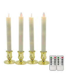 Movimiento temporizador online-Vela LED, 4pcs / lot Wick Wick Velas cónicas LED sin llama con control remoto Temporizador, Velas para la decoración de la boda de Navidad