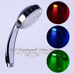 Wholesale Color Changing Temperature Control Faucet - Wholesale- LED Shower Head RGB Light Temperature Control 3 Color Change Bath Faucet No Battery Retail Showers for Bathroom Accessory