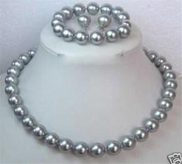 """Wholesale Earring Bracelet Set Grey - AAA 10MM Grey Shell Pearl Necklace Bracelet   Earring Set 18""""7.5"""""""