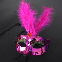 Wholesale Girls 14 Years Dress - Girls Feather Mask Halloween Christmas Masquerade Masks Women's Venice Masks Wedding Prom Fancy Dress Party free