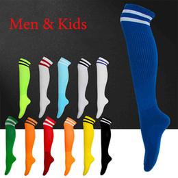 Wholesale Kids Plain Socks - 16 17 Men & Kids 2 Stripes Plain Thin Socks Above Knee Socks Long Stockings For Adult & Children