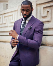 2019 фиолетовые галстуки Классический дизайн две кнопки темно-фиолетовый жених смокинги жениха шаферы лучший костюм свадебный мужской блейзер костюмы (куртка+брюки+галстук) нет: 611 дешево фиолетовые галстуки