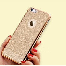 Wholesale Wholesale Iphone Caes - Luxury Flash Glitter Electroplating Plating Bling Crystal Ultra Thin Soft Gel TPU Back Caes Cover for iPhone 5 5S 6S 6SPlus 7 7Plus