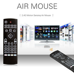 Mini teclado sin hilos Air Mouse MXIII 2 Side retroiluminado G-sensor giroscópico de control remoto para Android TV Box MXQ Pro S912 S905W T95Z Tablet PC desde fabricantes