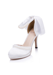 Wholesale Satin White Platform - New White Satin Pearls Rhinestones Wedding Shoes 2017 Beaded Bridal Shoes With Platform Round Toes Ankles Straps Women Shoes High Heels