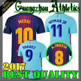 Wholesale Messi Away - 2018 SUAREZ Jerseys 2017 Camisas Neymar Messi INIESTA PIQUE home away Soccer Jersey 17 18 Camiseta de futbol SIZE S-4XL