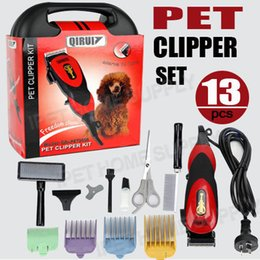 cortadoras de pelo Rebajas 13PC Pro Electric Dog Pet Clipper Kit Cuchillo de hoja Conjunto de pelo de Animal Peluquería Trimmer QiRui