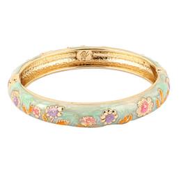 Wholesale Hinge Clasp - Wholesale- Women Gold Plated Flora Hinge Clasp Enamel Bangle Bracelet Jade Color