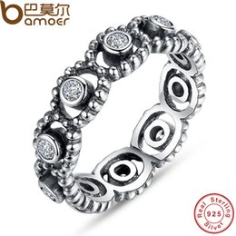 Wholesale Romance Rings - yizhan BAMOER Authentic 100% 925 Sterling Silver LOVE ROMANCE Ring with Clear Crystal Stamp S925 Party Jewelry Wedding Rings PA7101