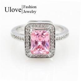 Wholesale Rings Large Stones - Anel CZ Diamond Jewelry Rainbow Topaz Silver Rings Women Joyas De Plata Large Stone Ring Wedding Party Gift Anillos Y3250