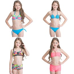 Wholesale Swimwear Stripe Girls - Girls Two-piece Bikini Swimwear Swimming Suit Multi Color Stripe Hand-woven Super Elastic Nylon Lace-up Breathable Soft