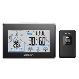 Wholesale Digital Wireless Weather Station - Baldr Home LCD Weather Station Touch Button In outdoor Temperature Humidity Wireless Sensor Hygrometer Clock Digital Thermometer