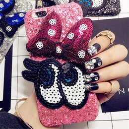 Wholesale Diy Plastic Phone Cases - For iPhone 6 6S 7 Plus Luxury Glitter Girl's Fashion Bling Cute cartoon bowknot Big eye hard phone case Back Cover handmade DIY