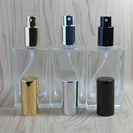 Wholesale Square Bottles - 50ML empty square clear glass perfume bottles with mist atomizer refillable spray perfume glass F2017809