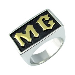 Wholesale motor jewelry - Free Shipping! Punk Motor Club Rings 316L Stainless Steel Gold Plated Silver White Black color MC Letter Biker Ring Jewelry