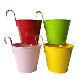 Wholesale Green Tin Buckets - Free Shipping Big Size D14.5*H17.5CM mixed color pure garden bucket tin box Iron pots flower metal Hanging Planter