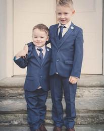 Wholesale Kids Zipper Ties - Wholesale- Dark Grey Boy Tuxedos 2017 Custom Made Notch Lapel Children Suit Two Buttons Kid Wedding Prom Suits (Jacket+Vest+Pants+Tie)