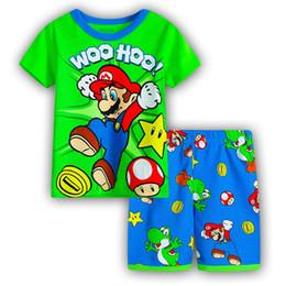 Pyjama garcon coton en Ligne-Enfant Pyjamas D'été Bébé Filles Imprimé Ensemble De Vêtements De Nuit À Manches Courtes En Coton Sous-vêtements Mignon Garçon Pyjama Enfants Costume SP96
