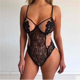 Wholesale Teddy String Underwear - 2017 Backless Bodysuit Lace Plunge Teddy Bridal Boutique Playsuit Women's One Piece Lingerie Underwear Sleepwear G-string