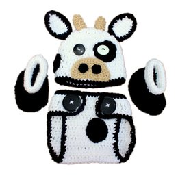 Wholesale Crochet Infant Animal Hats - Newborn Knit Cow Costume,Handmade Crochet Baby Boy Girl Cow Animal Hat Diaper Cover Booties Set,Infant Toddler Halloween Costume Photo Props