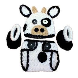 Wholesale Crochet Girl Booties - Newborn Knit Cow Costume,Handmade Crochet Baby Boy Girl Cow Animal Hat Diaper Cover Booties Set,Infant Toddler Halloween Costume Photo Props