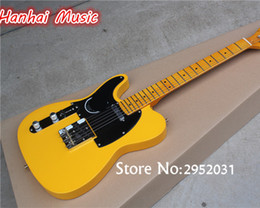 Wholesale Guitar Neck 22 Fret - wholesale Free Shipping-Electric Guitar,Left-hand,Vintage Yellow Body and Neck,22 Frets,Black Pickguard,can be Customized