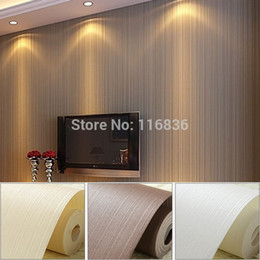 Wholesale Roll Striped Wallpaper - Wholesale-Top Quality Fabric Mural wallpaper modern striped flock wall paper papel de parede tapete bedroom white,beige,coffee 53x1000cm