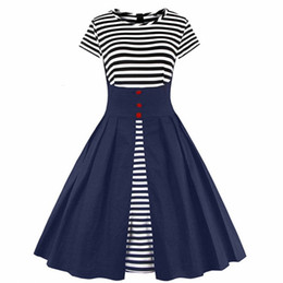 Wholesale Vintage Retro Women Dresses - 2017 New Women Summer Plus Size Vintage Dress Audrey Hepburn 60s Elegant Stripe Robe Party Retro Dress Vestidos Short Sleeve FS1394