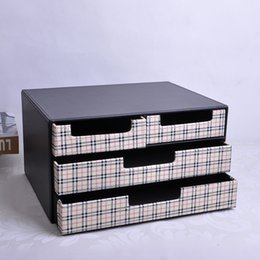 Wholesale Wood File Set - Wholesale- home office 4-drawer wood leather desk filing cabinet storage drawer box organizer document container table set black+white 216C