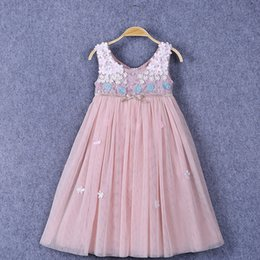 Wholesale Tutu Pink Trim - Princess Girls Mesh Tutu Pink Dress With Bow Leaves Lace Trimmed Embroidered Holiday Birthday Dresses