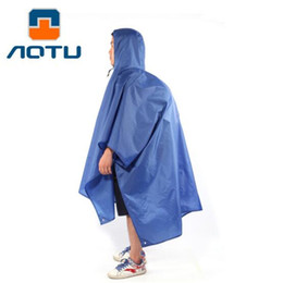 Wholesale Wholesale Open Tent - Wholesale- AOTU Multi-purpose Outdoor Poncho Raincoat Climbing Cycling Rain Cover Waterproof Camping Tent Mat Travel Equipment Orange Blue