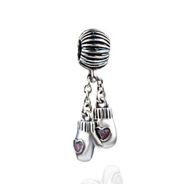 Wholesale Gloves Diy - Wholesale- Boxing Gloves Pink Crystal Charm Grafts Beads Silver Plated DIY European Jewelry Fit Necklace Bracelet Big Hole Pendants JPP174