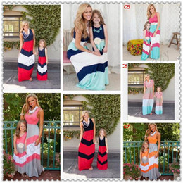 Wholesale mother dresses clothes plus - Plus Size Mother and Daughter Matching Dress 2017 Summer Striped Cotton Mother and Daughter Clothes Cotton Vest Dress Family Clothing 71