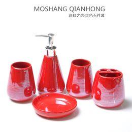 Wholesale bathroom glazing - pearly-lustre glaze ceramics bathroom 5pcs set European contracted design bathroom supplies wash cup +lotion bottle+ brush holder+soap dish
