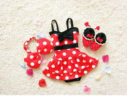 Wholesale Hot Girls Swim Suits - 2017 New Girl Swimwear Polka Dot Bow One Piece Dress Hot spring Fashion Swimming Suit+Headband 2-8Y 6062