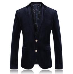 Wholesale Business Men Suit Xxl - Wholesale- 2016 new arrival autumn high quality black velvet casual blazer Business suit jacket free shipping size M,L,XL,XXL,XXXL