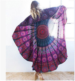 Wholesale Beach Sheets Towels - 150cm Round Bohemian Style Thin Chiffon Beach Towel Mandala Round Silk Scarf Bed Sheet Tablecloth Couch Cover Multifuntion Tapestry