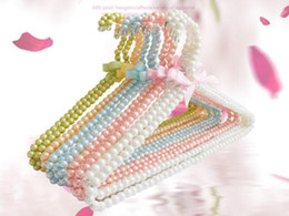Wholesale Dress Top Coat - Premium-Boutique-Metal-Pearl-Beaded-Pants-Clothes-Coat-Hangers-16-034 Pearl Beaded Hangers Clothes Coat Trouser Dress 40cm Hangerworld