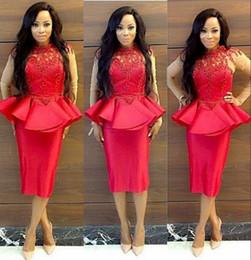 vestido de noche rojo de encaje peplum Rebajas Sudadera de encaje rojo sudafricana vestido de fiesta con peplum cuello alto Sheer manga larga vestidos de noche más el tamaño de las mujeres de la envoltura formal desgaste