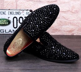 Wholesale Diamond Men Shoes - 2017 New Dandelion Spikes Flat Leather Shoes Rhinestone Fashion Mens Loafers Dress Shoes Slip On Casual Diamond Pointed Toe Shoes