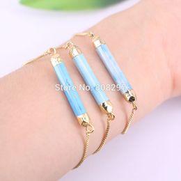 Wholesale Gold Rhinestone Love Connectors - New Fashion 5Pcs Gold Color Blue stone point connector beads charm adjustable chain Macrame bracelet