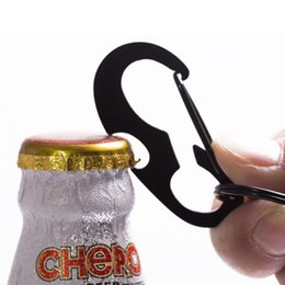 Wholesale Black D Key - NEW Quality Multi Functional Black D-ring Carabiner Beer Bottle Opener Key Chain Free Shipping