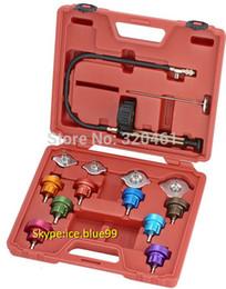 Wholesale Pressure Test Pump - Wholesale- Wholesale Car Radiator Test water Pressure tester pump gauge tester adapter Color Cap Leakage test 14pcs MST-URP001