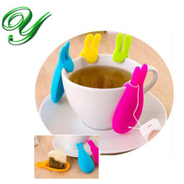 Wholesale Tea Cup Gift Box - Silicone Tea Bag Holder Hanger storage organizers Cup Mug Gift tea maker tools Creative Rabbit Shape Candy Colors tea infuser strainer box