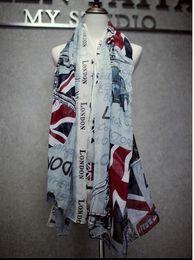 Wholesale Scarves London - London British Flag autumn winter soft voile scarf women 100x180cm brand designer women scarf cape fashion for women