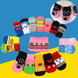 Wholesale Clothing For Dogs - Hot pet dog cat warm socks for winter Cute Puppy Dogs Soft Cotton Anti-slip Knit Weave Sock Dog cat Socks Clothes 4pcs set