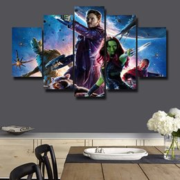 Wholesale Digital Printed Galaxy - 5p modern Home Furnishing HD picture Canvas Print art wall of the sitting room children room decoration theme --galaxy Guardians