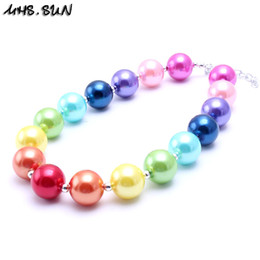 Wholesale Making Resin Beads - MHS.SUN Rainbow Color Kid Chunky Necklace Finish DIY Make Bubblegum Bead Chunky Necklace Children Jewelry For Toddler Girls
