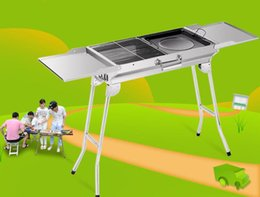 Wholesale Portable Steel Charcoal Bbq Grill - 5~10 Persons Portable Outdoor Camping Charcoal BBQ Grills Stainless Steel Folding Barbecue Grill Large Durable Charbroiler Oven