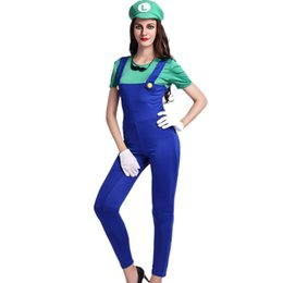 Wholesale Cute Women Jumpsuits - New Sexy and Cute Female Halloween Masquerade Cosplay Super Mario Costume Red Conjoined Clothes Jumpsuits With Green Hat W531813A